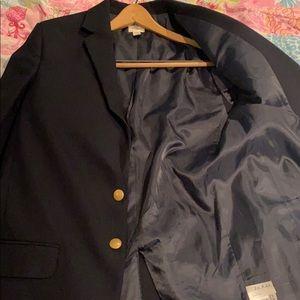 Blue blazer and striped button down shirt